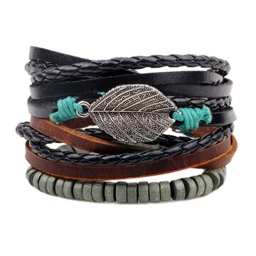 Men's Leather Beads Multilayer Bracelet