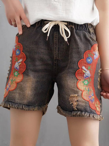 Vintage Ethnic Embroidery Denim Shorts