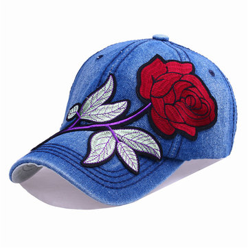 Women Sunshade Rose Embroidered Baseball Cap