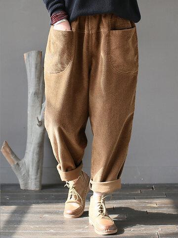 Pantalones casuales de pana de color sólido