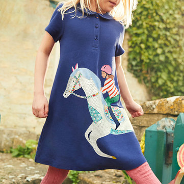 Horse Pattern Girls Dress For 1-9Y