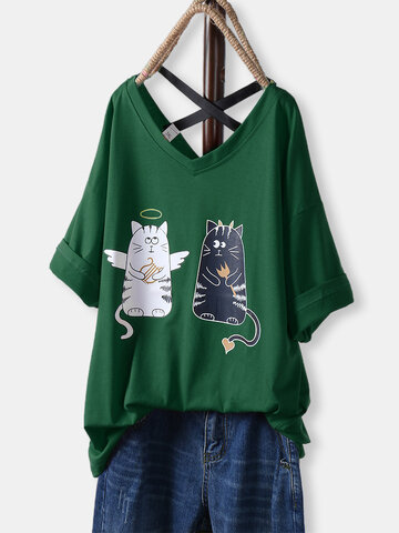 Cartoon Print Cat Loose T-Shirt