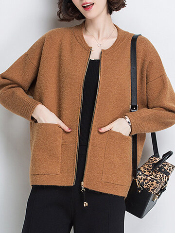 O-NEWE Casual Solid Zipper Knit Cardigan