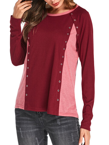 Patchwork Long Sleeve Shirt, Black wine red