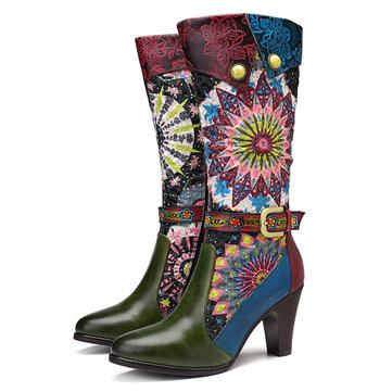 SOCOFY Fireworks Handmade Leather High Heel Knee Boots