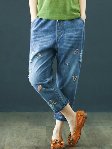 Embroidery Elastic Waist Harem Denim