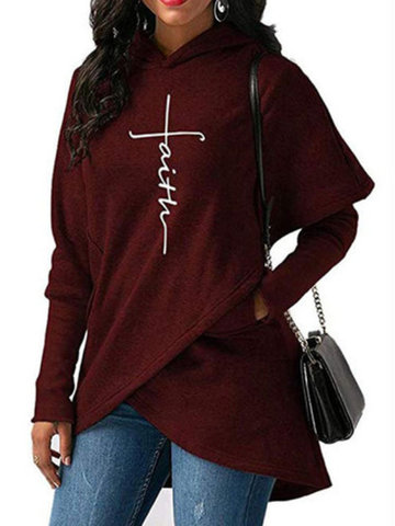 Casual Solid Color Irregular Hoodie, Grey black blue wine red