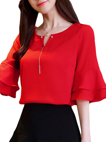 Chiffon Solid Color Bell Sleeve O-neck T-shirt, Yellow red light blue pink