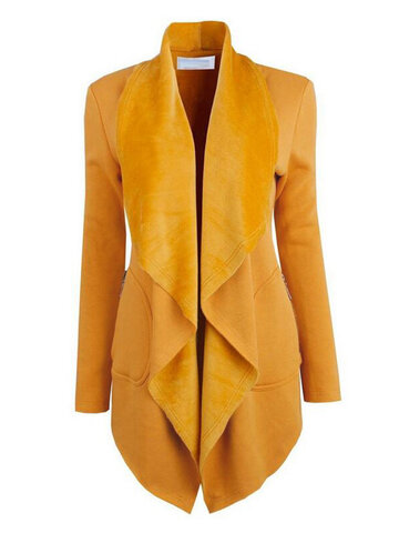 Pure Color Irregular Lapel Women Coat