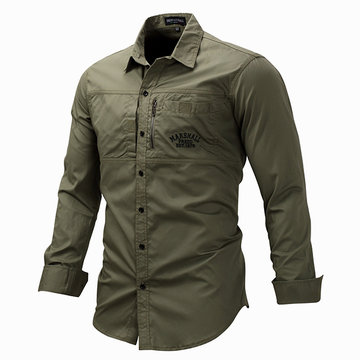 7a76ca443a8 Mens Military Solid Color Work Shirts