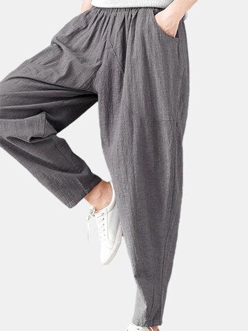 Pantalones de harén casuales de cintura elástica de color sólido para mujeres