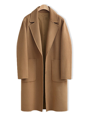 Casual Solid Color Women Overcoats