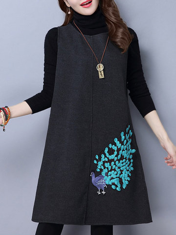 Embroidery Wool Dress