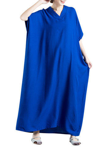Loose Women Solid Color Batwing Sleeve V-neck Maxi Dress
