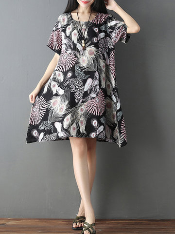 Women Printed Loose O-Neck Short Sleeve Casual Dresses