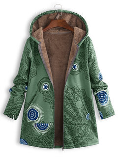 ba20e33d8 Trendy ZHI Ethnic Print Fleece Zipper Loose Hooded Coat Online - NewChic
