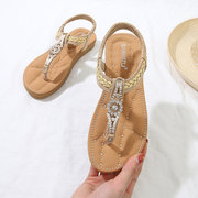 a7d54620dbf10e High-quality Woven Metal Rhinestone Flat Sandals - NewChic