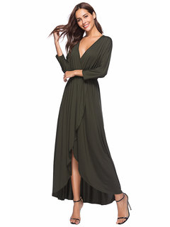 Plus Size Sexy Solid V Neck 3 4 Sleeve Maxi Dress For Women Newchic