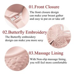 49ced734bb Butterfly Embroidery Front Closure Wireless Adjustable Gather Soft Bras