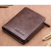 d6787d7eb6f9f 10 Card Slots Genuine Leather Trifold Wallet Vintage Coin Bag Card Pack For  Men