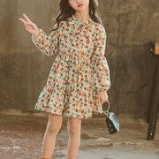 6703997a8c Vestidos casuales para niñas de flores Manga larga Un vestido de línea para  4Y-15Y