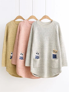 5bbef8dccf Hot-sale Casual Pockets Embroidery Long Sleeves Sweaters For Women ...