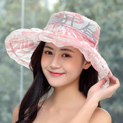 e8740246acd Women s Yarn Flower Priting Foldable Bow Bucket Cap Vogue Sunshade Vacation  Seaside Fisherman Hats