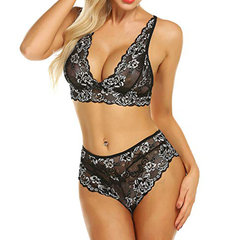 2 Piece Lingerie Embroidery Floral Bralette Set For Women Lace Bra And  Panty Outfit 0ca2b09dd